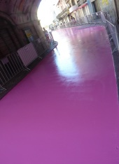 Pink painted street